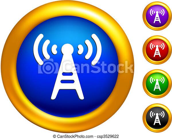 矢量-收音机, 塔, 图标, 按钮, 金色, 边界