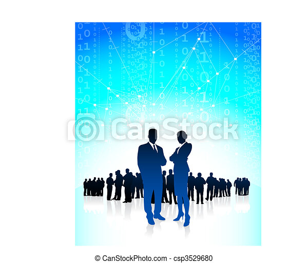 Business executives with global financial team - csp3529680