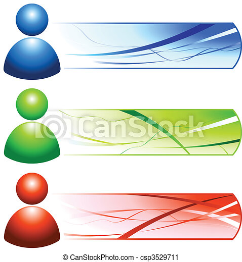 User Internet Icon People with Banners - csp3529711