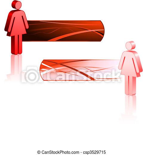 hembra, palo, figuras, banderas - csp3529715