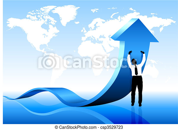 Businessman holding arrow with World Map Background - csp3529723