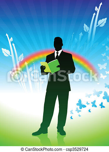 businessman on green nature background with rainbow - csp3529724