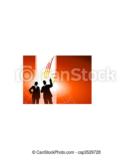 Business executives or red internet background with arrows - csp3529728