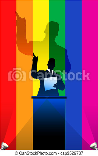 Gay Pride flag with political speaker behind a podium - csp3529737