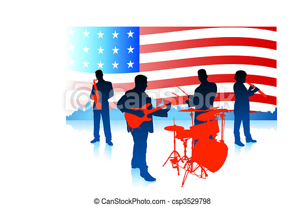 Live Music Band with American Flag - csp3529798