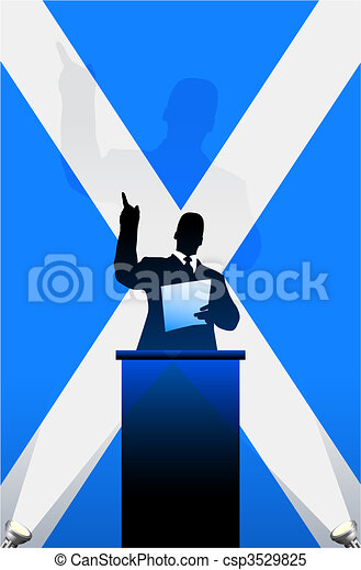 Scotland flag with political speaker behind a podium - csp3529825