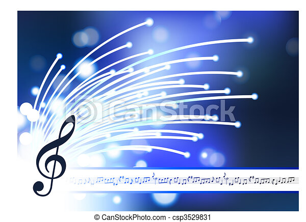 musical note on abstract fiber optic background - csp3529831