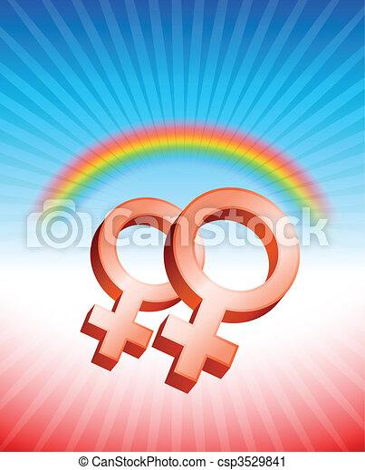 Lesbian Relationship Gender Symbols - csp3529841