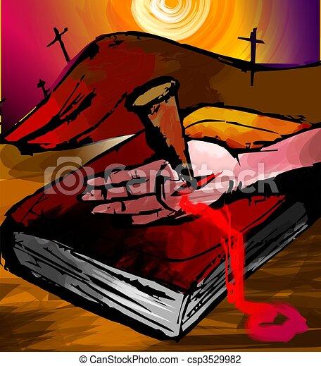 Gemälde clipart  Clipart von nagel, bible., hand, gemälde, digital - The, künstler ...