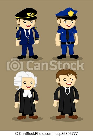 Vectors Illustration of Pilot Policeman Judge and Lawyer Vector ...