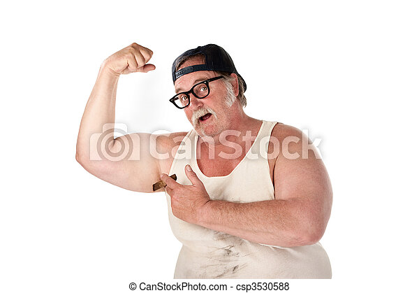 Obese man flexing muscles in tee shirt on white background - csp3530588