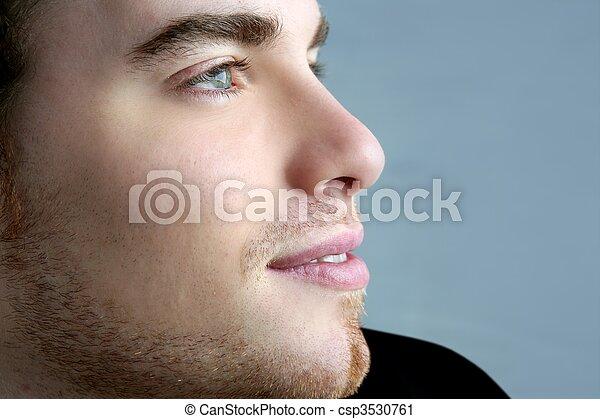 bonito, perfil, Retrato, jovem, homem, rosto - csp3530761