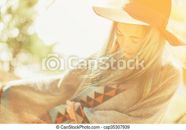 Boho style smiling woman - csp35307939