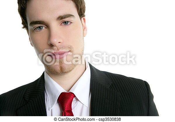 handsome young businessman portrait tie suit - csp3530838