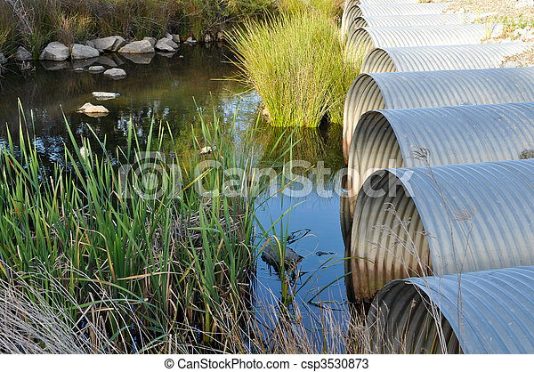 Drainage Pipes flowing into Green Pond - csp3530873