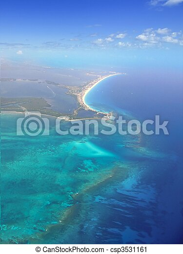 Caribbean sea blue turquoise water in Cancun - csp3531161