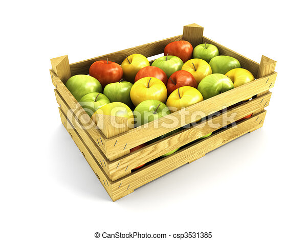 wooden crate full of apples - csp3531385