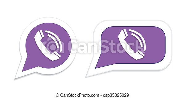 Vector Illustration of Phone handset in speech bubble icon. Vector ...