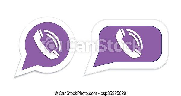 Vector Illustration of Phone handset in speech bubble icon. Vector ...