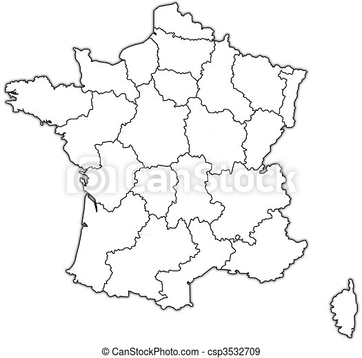 administrativo, mapa, de, francia - csp3532709