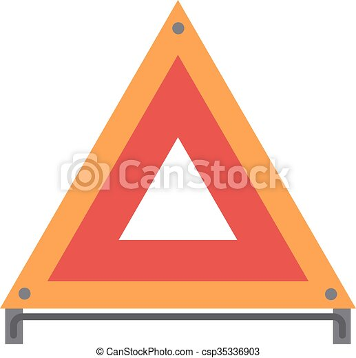 Red warning triangle emergency road sign flat vector illustration icon.  - csp35336903