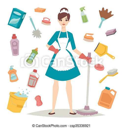 Ilustraciones de vectores de plano estilo ilustraci n - Imagenes de limpieza de casas ...