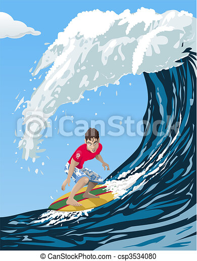 Clipart vecteur de grand vague surfeur computer made - Coloriage surfeur ...