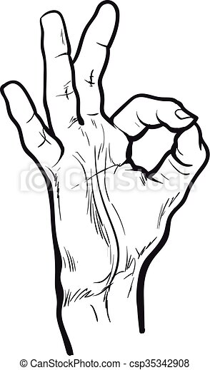 Vector Clipart of Fingers are doing OK symbol - Hand showing OK ...