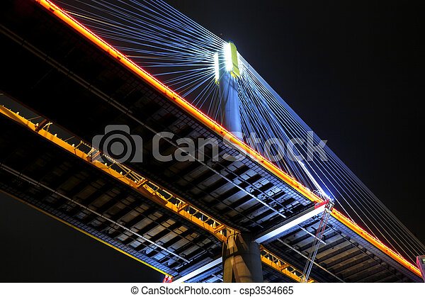 Hong Kong night, Ting Kau Bridge - csp3534665