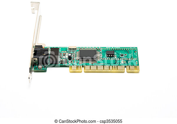 Stock Images of Network Interface Card - Green Wired ...