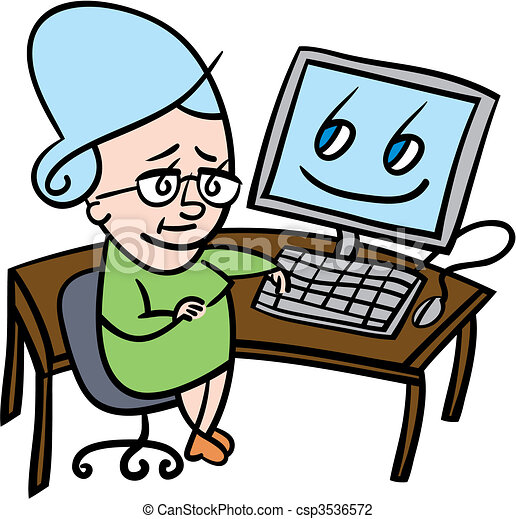 Senior woman using computer - csp3536572
