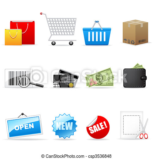 Vector shopping icons  - csp3536848