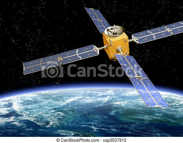 Orbiting Satellite - csp3537912