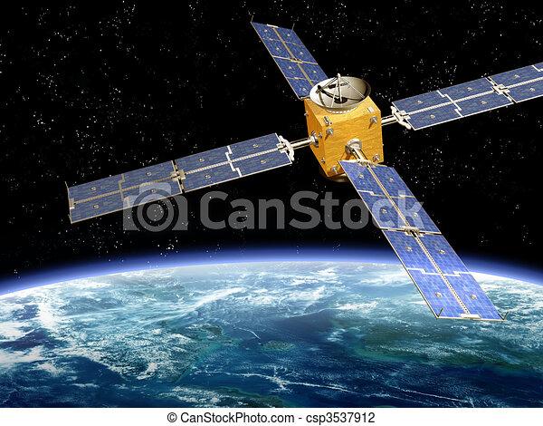 Orbiting Satellite - csp3537912