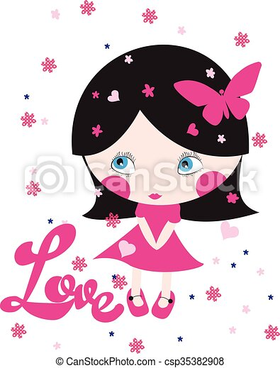 Vector Clipart of cute girl/T-shirt Graphic/the children's book ...