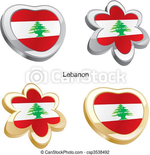 vektor illustration von herz fahne blume libanon v llig editable vektor csp3538492. Black Bedroom Furniture Sets. Home Design Ideas