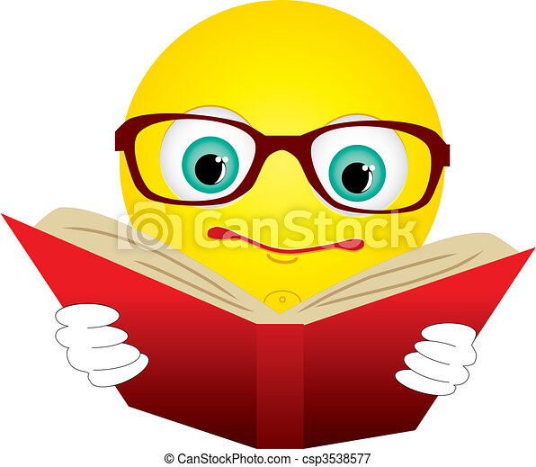 Smiley-ball in glasses read red book, vector illustration - csp3538577