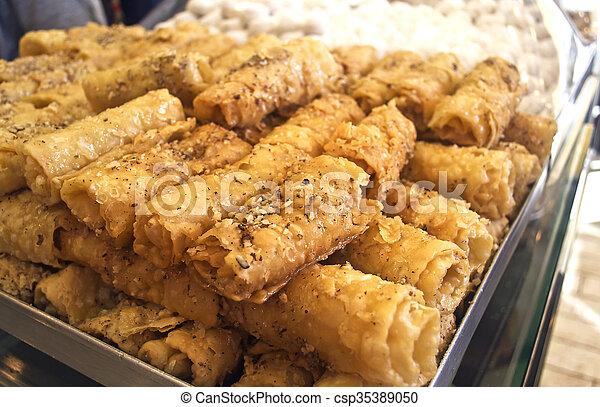 traditional greek Christmas dessert - sweet dessert icon with honey