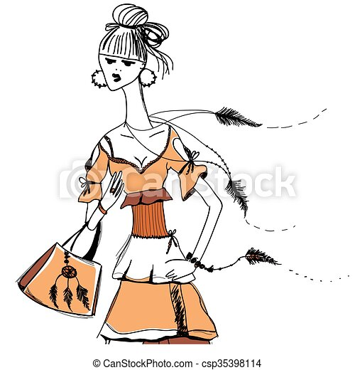 The girl in Gypsy dress. Boho style.  Linear pattern on a white background.  For t-shirts print, phone case, posters, bag print, cup print, girls diary or notepad cover .Line drawing festive. Vector drawing. - csp35398114