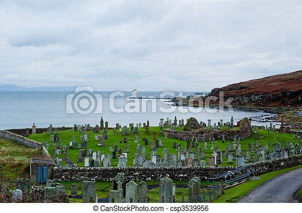Islay cemetery and lighthouse - csp3539956