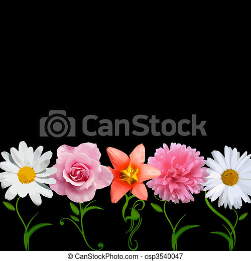 bright flowers in a row - vector - csp3540047