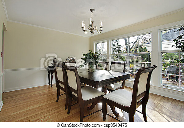 Dining room with patio view - csp3540475
