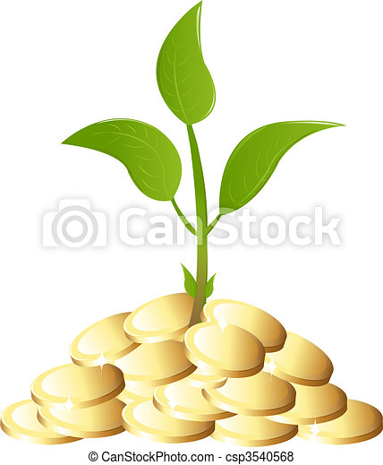Green Young plant with money - csp3540568