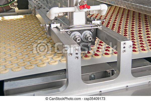 automatic production cookies inside of factory