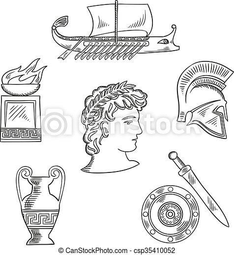 Clipart Vector Of Culture Symbols Of Ancient Greece
