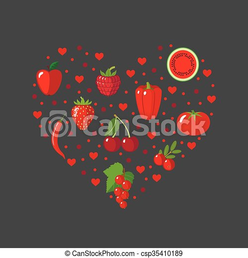 Vector of Heart shape with red fruits and vegetables in ...  Vector of Heart...