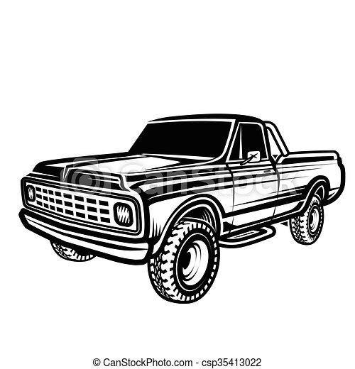 Illustration Vecteur de voiture, pick-up, 4x4, camion, de ...