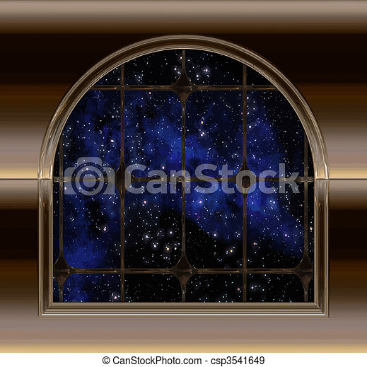 window looking out to space or night sky - csp3541649