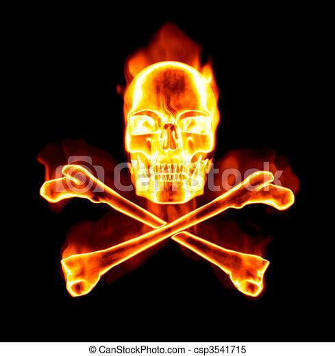 fiery skull and cross bones - csp3541715