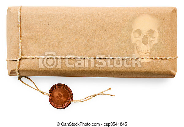 Deadly postal parcel on white background - csp3541845